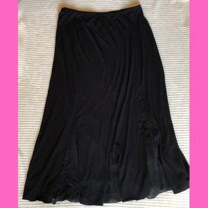 J. Jill Medium Black Knit Skirt Chiffon Panels 38